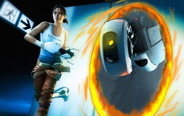 Chell_GLaDOS_through_portal